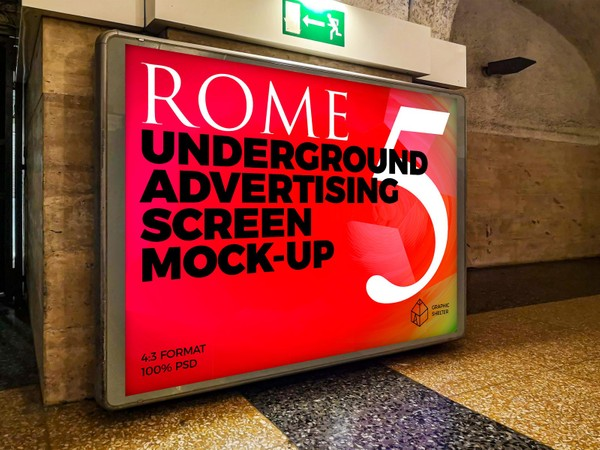 Rome Underground Advertising Screen Mock-Ups