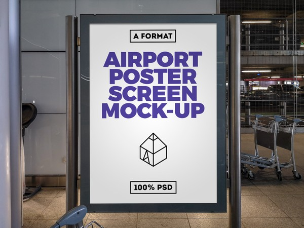 Free Airport Poster Screen Mock-Up 7