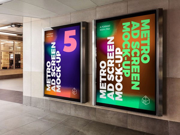 Metro Underground Advertising Screen Mock-Ups 8 (v.6)