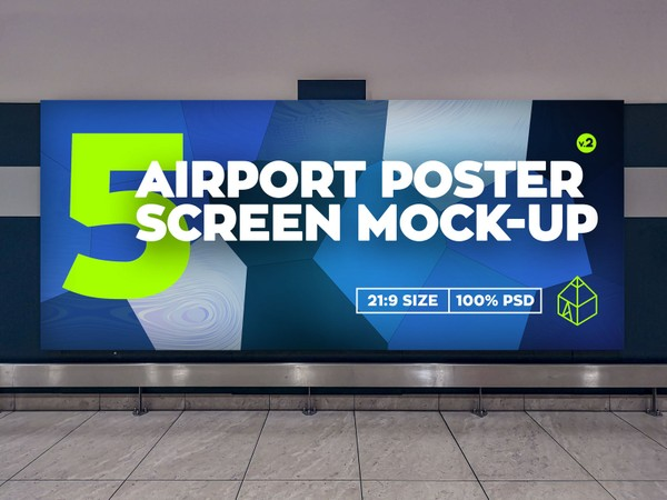 Airport Poster Screen Mock-Ups 10 v.2
