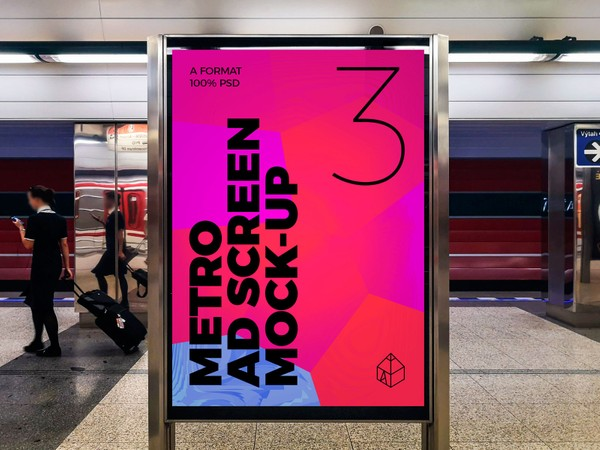 Metro Underground Advertising Screen Mock-Ups 6 (v.1)