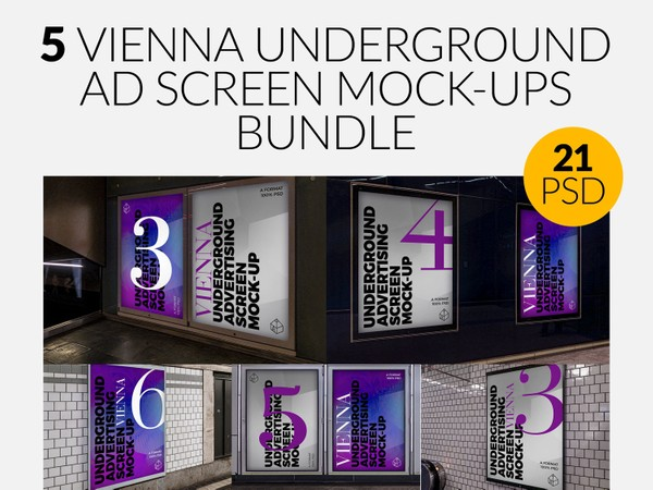 5 Vienna Underground Advertising Screen Mock-Ups Bundle
