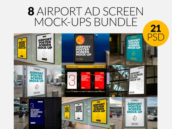 8 Airport Ad Screen Mock-Ups Bundle