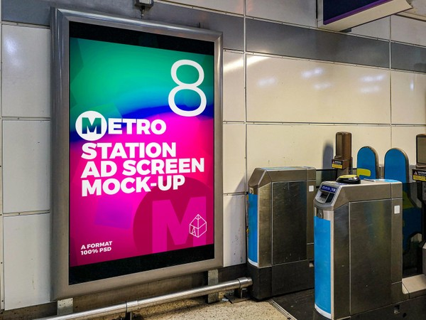 Metro Station Advertising Screen Mock-Ups