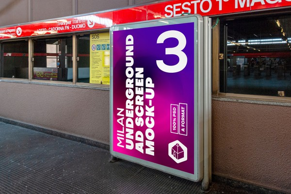 Milan Underground Advertising Screen Mock-Ups 2