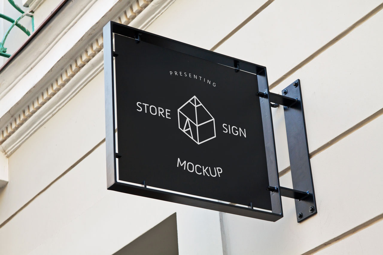 Free Store Sign Mockup Graphic Shelter