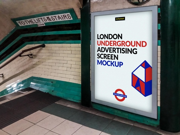 Free London Underground Advertising Screen Mock-Up 2