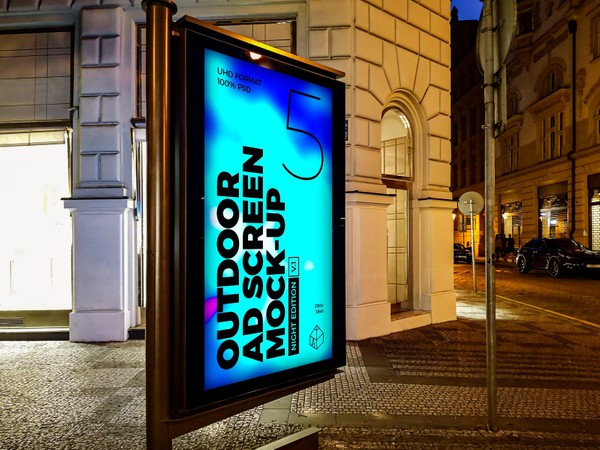 Outdoor Night Advertising Screen Mock-Ups 3