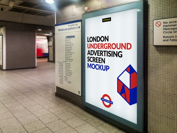 Free London Underground Advertising Screen Mock-Up 4