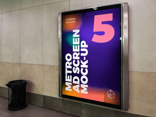 Metro Underground Advertising Screen Mock-Ups 8 (v.4)