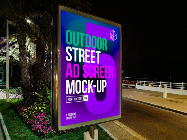 Outdoor Night Advertising Screen Mock-Ups 2