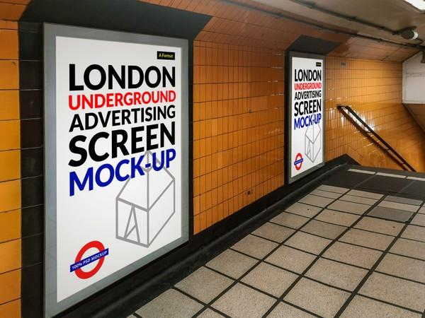 Free London Underground Advertising Screen Mock-Up 6