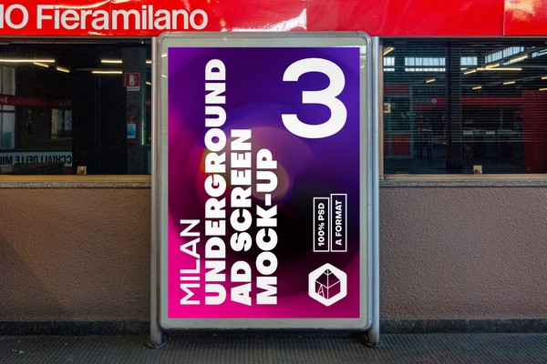 Milan Underground Advertising Screen Mock-Ups 1