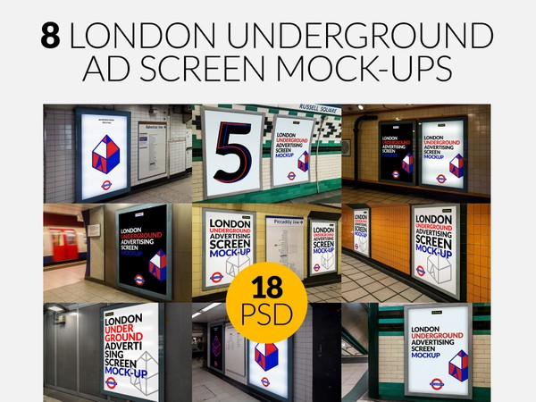 8 London Underground Ad Screen Mock-Ups Bundle