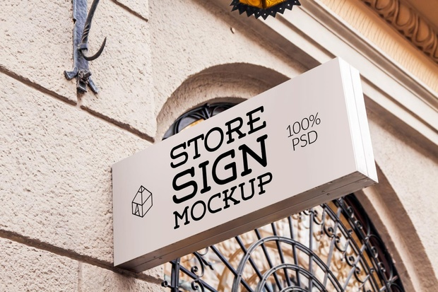 Free Store Sign Mock-up 3