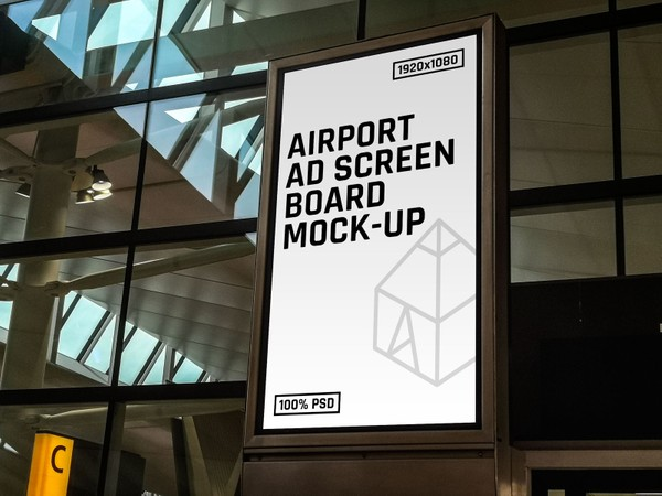 Free Airport Ad Screen Board Mock-Up 2