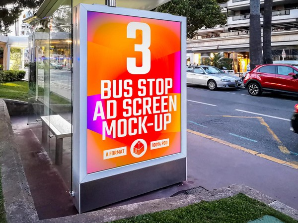 Bus Stop Advertising Screen Mock-Ups 3