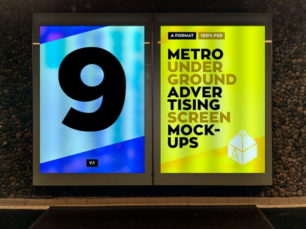 Metro Underground Advertising Screen Mock-Ups v.1