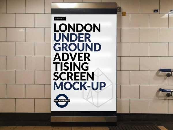 Free London Underground Advertising Screen Mock-Up 16