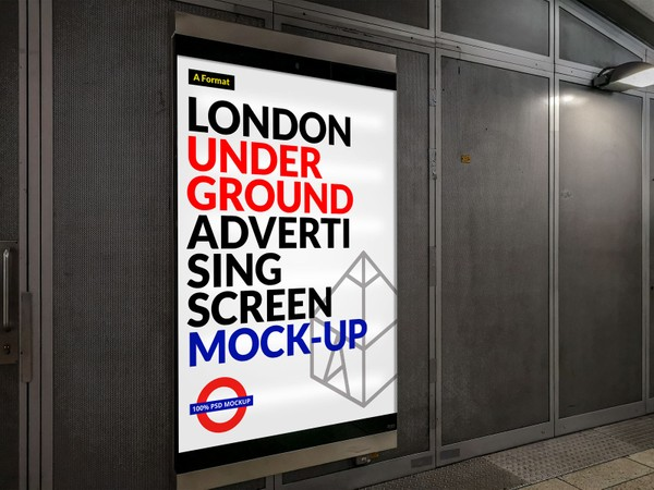 Free London Underground Advertising Screen Mock-Up 8