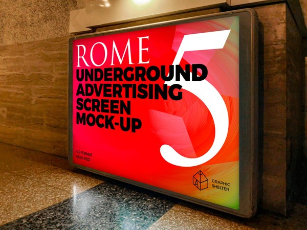 Rome Underground Advertising Screen Mock-Ups 3