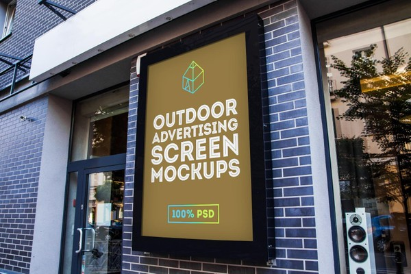 Free Outdoor Advertising Screen Mock-Up 2