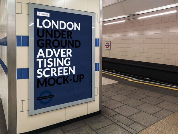 Free London Underground Advertising Screen Mock-Up 15