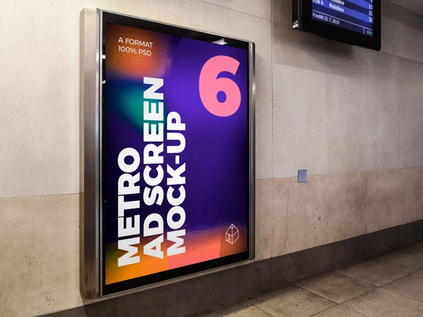 Metro Underground Advertising Screen Mock-Ups 8 (v.8)
