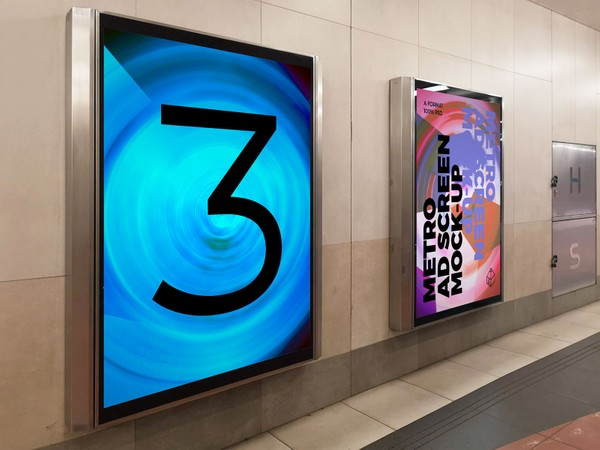Metro Underground Advertising Screen Mock-Ups 8 (v.3)