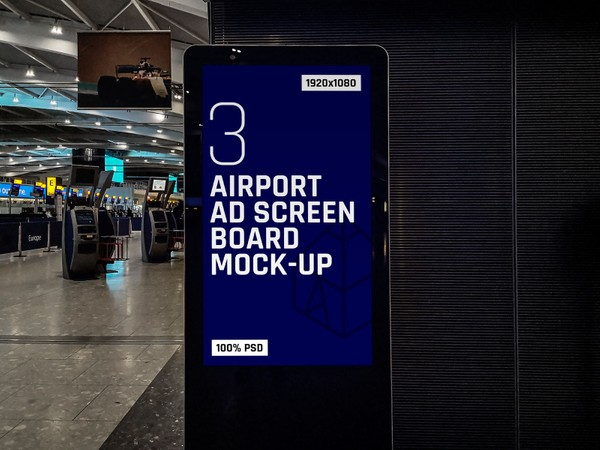 Airport Ad Screen Board Mock-Ups 3