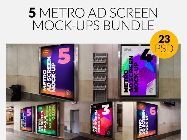 5 Metro Underground Advertising Screen Mock-Ups Bundle 6