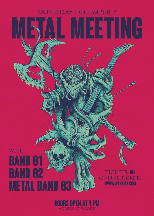 metal gig poster template icy bomb