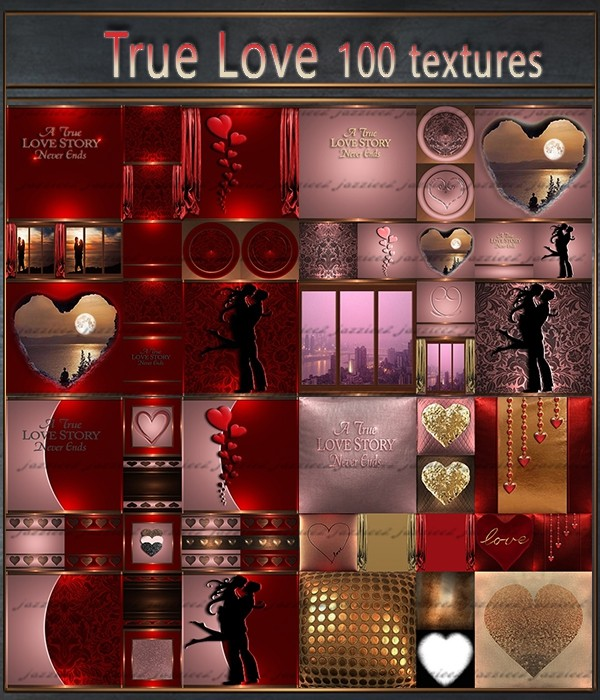 True Love 100 Textures. 2 in 1 red and pink pack
