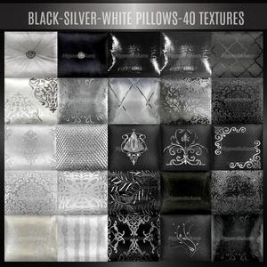 A~BLACK-SILVER-WHITE PILLOWS-40 TEXTURES