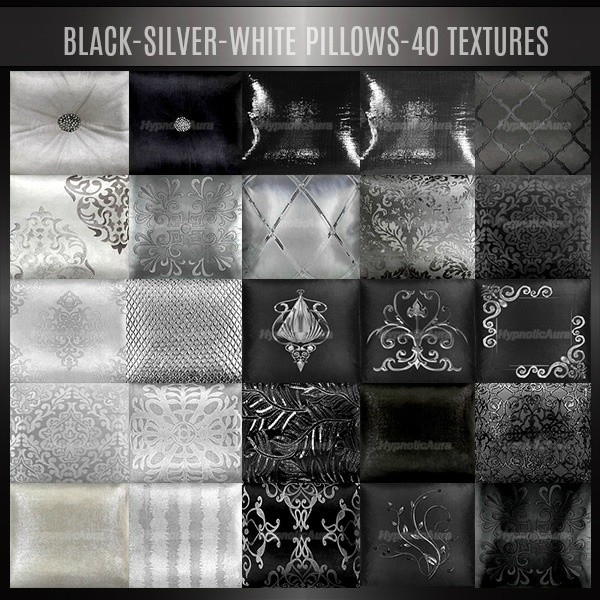 A~BLACK-SILVER-WHITE PILLOWS-40 TEXTURES