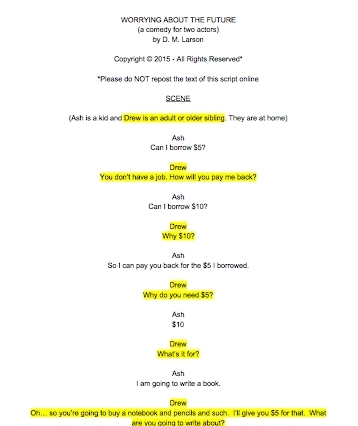 Worrying About the Future script with Drew's lines highlighted
