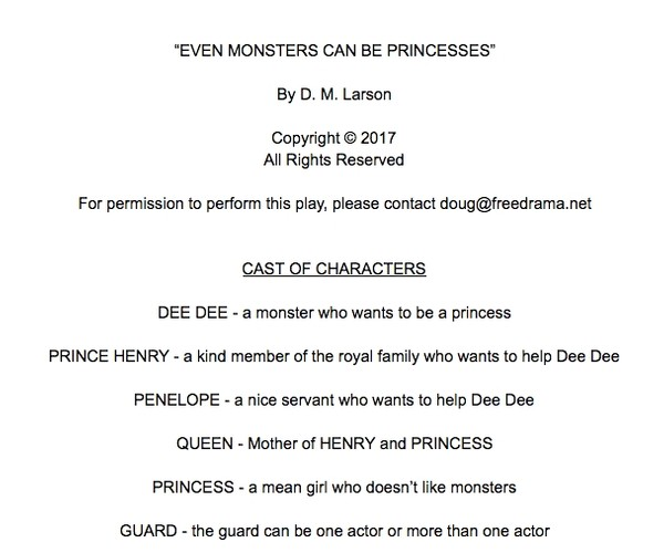 Word document version of Even Monsters Can Be Princesses