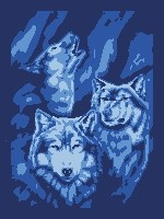 Three Wolves (color blocks)