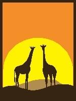 Giraffes Sunset (color blocks)