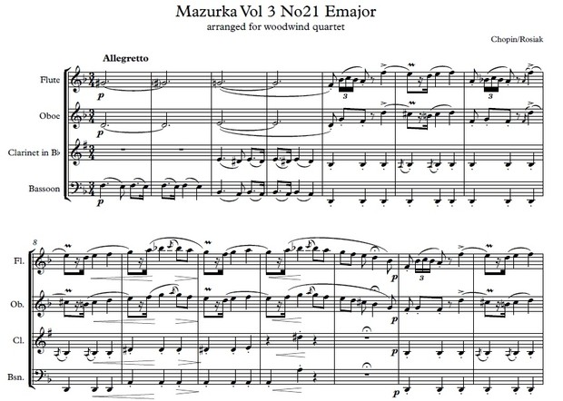 F. Chopin (arr. M. Rosiak) - Mazurka E major for wind quartet (score and parts)