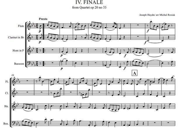 J. Haydn (arr. M. Rosiak) - Quartet op 20 no 33 - Presto for woodwind quartet