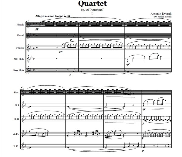 A. Dvorak (arr. M. Rosiak) - Quartet 'American' 1 mov for flute ensemble