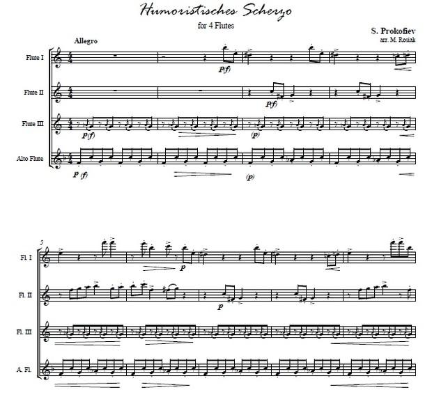 S. Prokofiev (arr. M. Rosiak) - Humorous Scherzo for four flutes