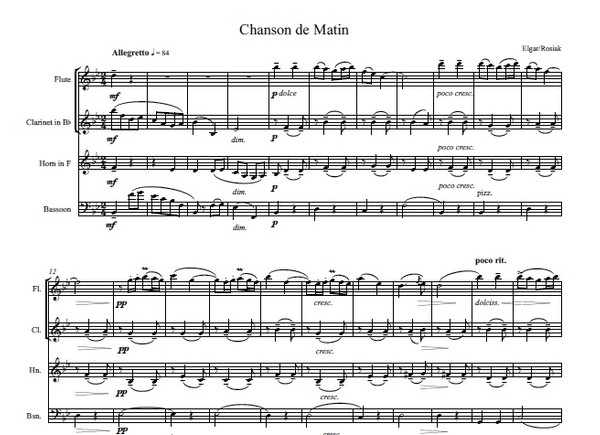 E. Elgar (arr. M. Rosiak) - Chanson de Matin for woodwind quartet