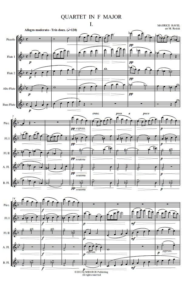M. Ravel (arr. M. Rosiak) - Quartet in F for flute ensemble