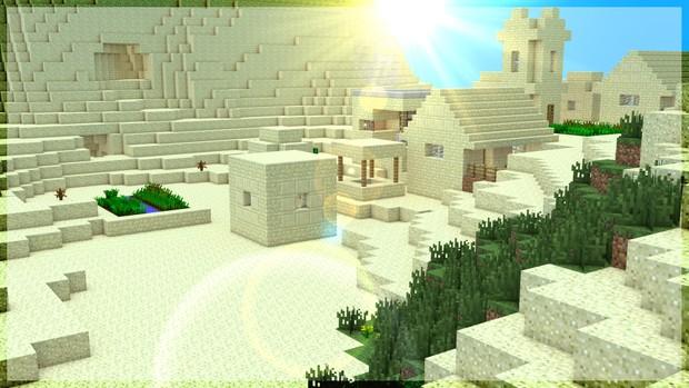 4K Ultra HD - Minecraft Render - Desert village view