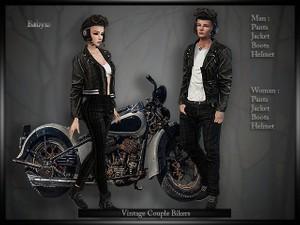 Vintage Bikers Couple