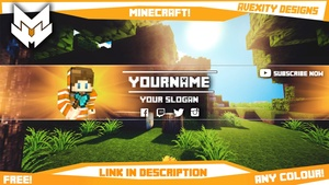 | Minecraft | YouTube Banner/Avatar Template | Any Colour | [Free] [Photoshop]
