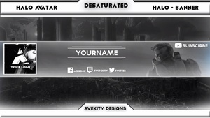 | Desaturated - Halo | YouTube Banner/Avatar Template | Any Colour | [Free] [Photoshop]