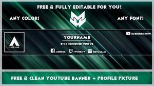 Clean YouTube Banner/Avatar Template | Any Colour | [Free] [Photoshop]